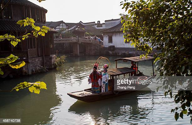 WUZHEN TONGXIANG ZHEJIANG CHINA Artist from Shanghai Theatre Academy perform classic Chinese Peking opera 'The Wandering Dragon Toys with the...