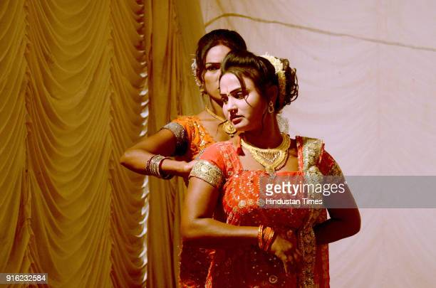 Artist gets ready for their performance during Dholki fad and Tamasha Festival organised by Cultural Ministry near CIDCO Exhibition Center Vashi on...