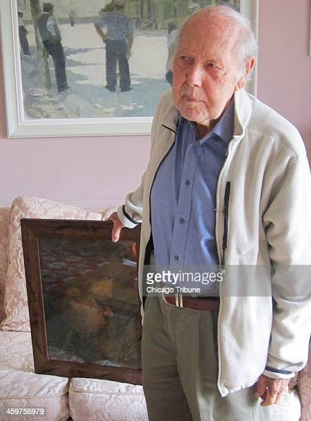 Artist Gordon Stuart holds the last portrait that Dylan Thomas sat for completed just before the poets death in 1953 He sat very still was very well...