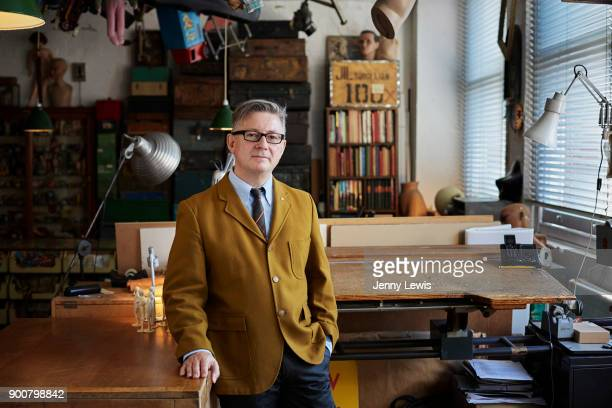 Artist Graham Rawle is photographed in his studio on September 24 2013 in Hackney East London England