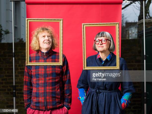 Artist Grayson Perry and psychotherapist Philippa Perry are photographed for the Observer on February 4, 2020 in London, England.