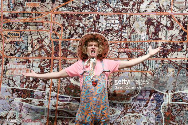 """Artist Grayson Perry poses at the """"Grayson Perry: The Most Specialest Relationship"""" photocall at Victoria Miro Gallery on September 14, 2020 in..."""