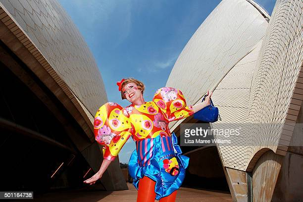 Artist Grayson Perry poses for a portrait at Sydney Opera House on December 13 2015 in Sydney Australia