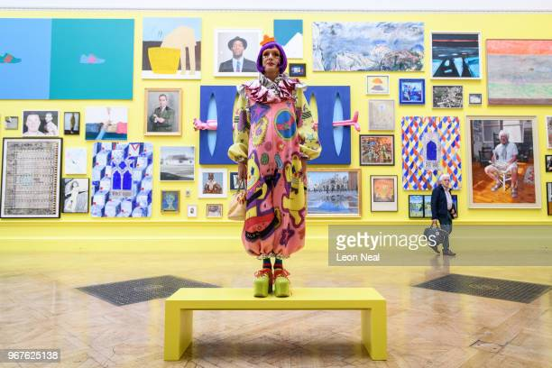 Artist Grayson Perry poses for photographers during a press preview of the 250th Summer Exhibition at Royal Academy of Arts on June 5 2018 in London...