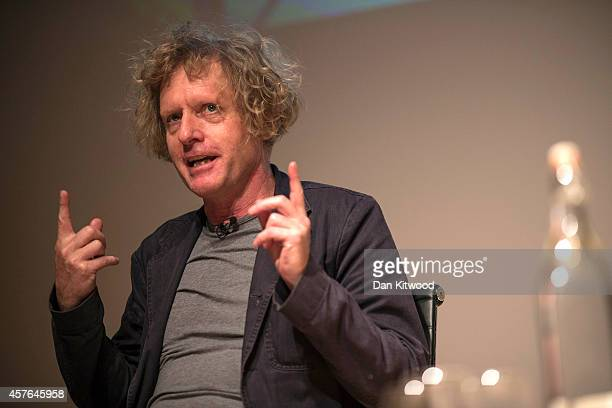 Artist Grayson Perry speaks to members of the media ahead of a photocall for his 'Who Are You' exhibition at the National Portrait gallery on October...