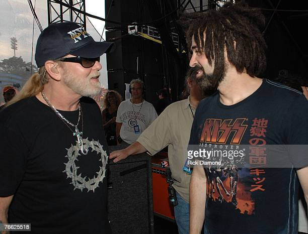 Artist Gregg Allman and Artist Adam Duritz Backstage at Farm Aid 2007 AT ICAHN Stadium on Randall's Island NY September 92007