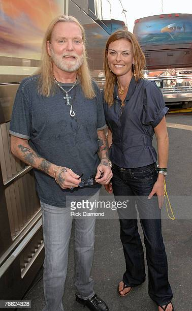 Artist Gregg Allman and Renee Loux of The Green Fine Living Network Backstage at Farm Aid 2007 at ICAHN Stadium on Randall's Island NY September 92007