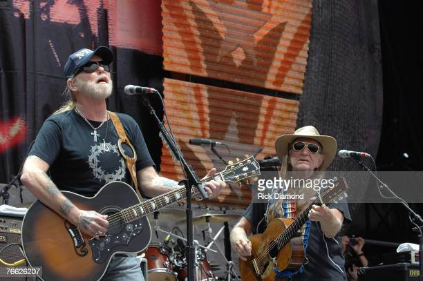 Artist Gregg Allman invites Founding Member of Farm Aid Willie Nelson to join him and play on Midnight Rider live at Farm Aid 2007 at ICAHN Stadium...