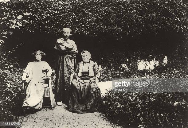 Artist Gustav Klimt Emilie Floege and her mother Barbara in their garden at the villa Oleander in Kammer at Lake Attersee Austria Photograph 1912