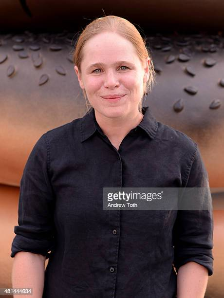Artist Hanna Liden attends Everything public art installation unveiling at Hudson River Park on July 20 2015 in New York City