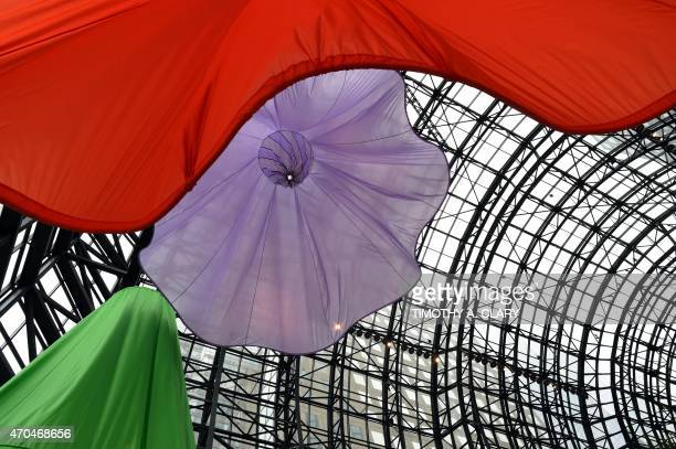 """Artist Heather Nicol's """"Soft Spin"""" installations are seen at the World Financial Center in Lower Manhattan on April 20, 2015. The colorful art can be..."""