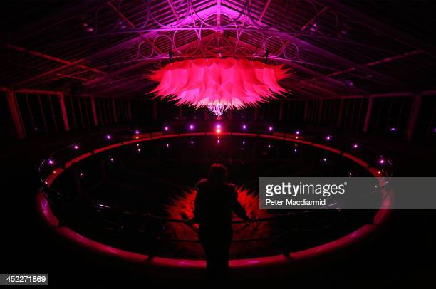 Artist Helen Davies looks up at her giant Lotus Flower installation in the Water Lily House at The Royal Botanic Gardens Kew on November 27 2013 in...