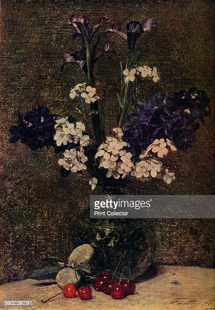 Artist Henri FantinLatour 'Vase of flowers with Cherries and Almonds on the table Nature morte Irises Delphinium hybrids and dame's violet' 1871 From...