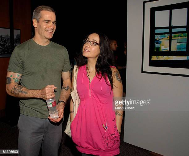 Artist Henry Rollins and actress Janeane Garofalo attend the screening of The Witness From the Balcony of Room 306 on June 9 2008 in Los Angeles...