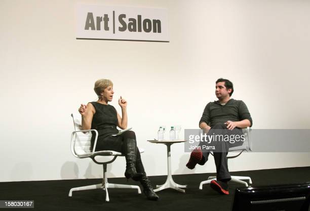 Artist Hernan Bas speaks onstage with Bonnie Clearwater Director and Chief Curator of Museum of Contemporary Art in North Miami during Art Salon at...