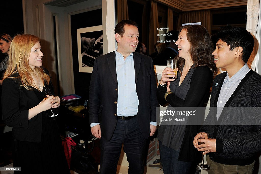 Artist Hester Jones, Minister for Culture Ed Vaizey, artist Emma Critchley and guest attend the Corinthia Artist In Residence winners announcement at Corinthia Hotel London on January 13, 2012 in London, England.