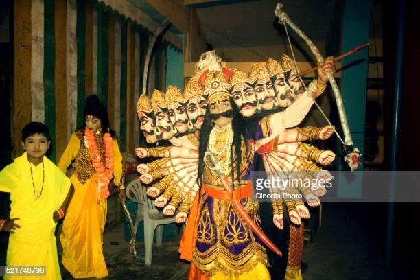 Artist in character of ravan in ramlila on dassera dussera festival, Katni, Madhya Pradesh, India