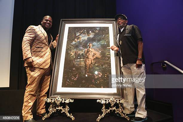 Artist, influencer Kehinde Wiley and director, producer Spike Lee unveil Lee's portrait by Wiley onstage during an evening with Kehinde Wiley & Spike...