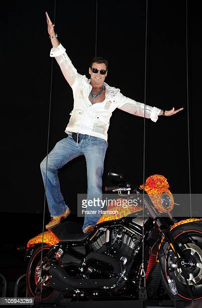 Artist Jack Armstrong arrives at the Harley Davidson showcase unveiling of 'Cosmic Harley' a one of a kind $1000 Harley Davidson designed by artist...