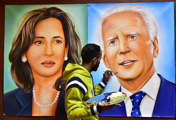 IND: Artist Jagjot Singh Rubal Paints US President-elect Joe Biden And Vice President-Elect Kamala Harris On The Eve Of Their Oath-Taking Ceremony