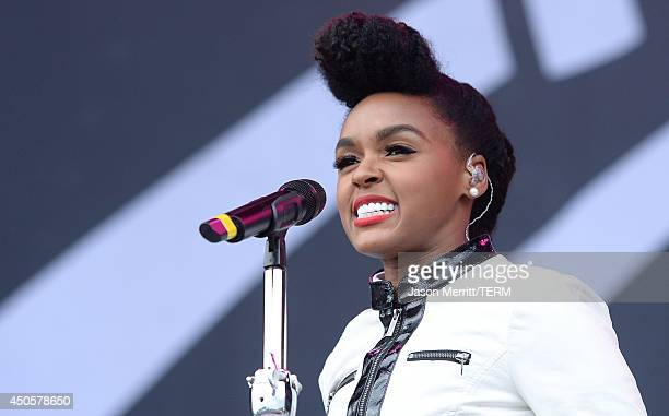 Artist Janelle Monae performs at the Bonnaroo Music & Arts Festival on June 13, 2014 in Manchester, Tennessee.