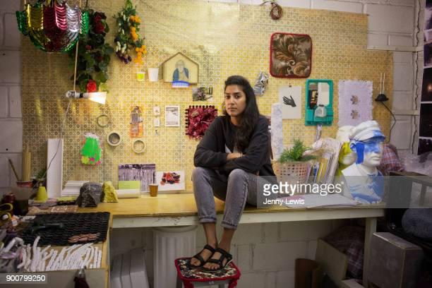 Artist Jasleen Kaur photographed in her studio on September 30 2016 in Hackney East London England
