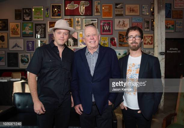 Artist Jason Isbell American politician and businessman Phil Bredesen and artist Benjamin Scott Folds are seen backstage at Marathon Music Works on...