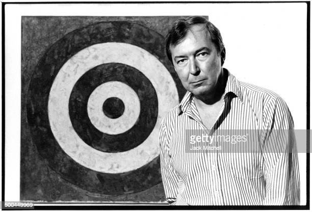 Artist Jasper Johns photographed at an exhibition of his work at the Whitney Museum of American Art in 1977.