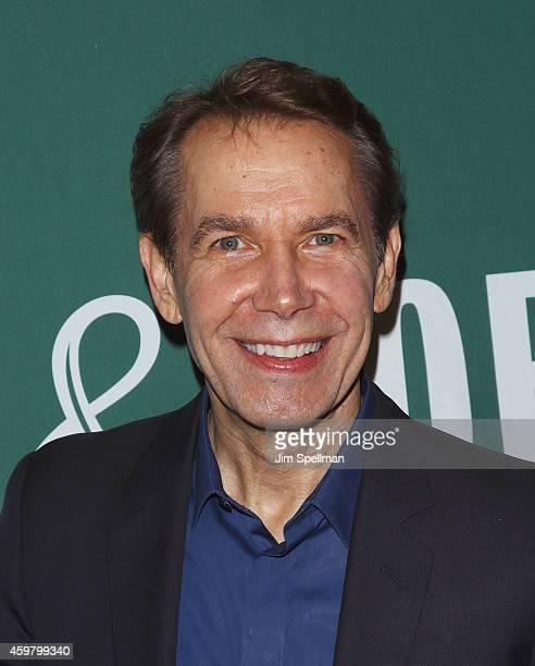 Artist Jeff Koons in conversation with Sir Norman Rosenthal at Barnes Noble Union Square on December 1 2014 in New York City