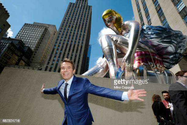 Artist Jeff Koons unveils his seated ballerina inflatable sculpture at Rockefeller Center on May 12 2017 in New York City