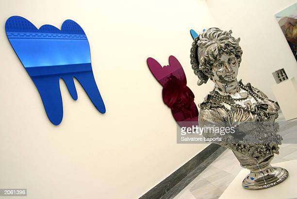 Artist Jeff Koons' work the Lucia Mondella stainles sculpture is on exhibit at the National Museum June 6 2003 in Naples The exhibit opens June 9...