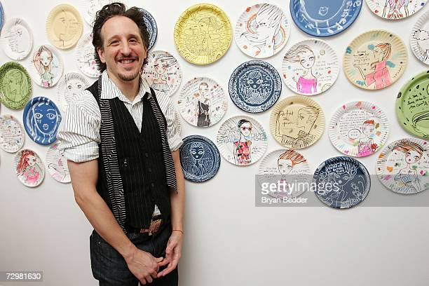 Artist Jeffrey Fulvimari attends his opening reception A Piece of Fulvimari at Gallery Hanahou on January 11 2006 in New York City