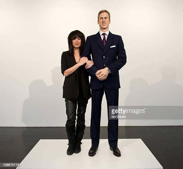 Artist Jennifer Rubell poses next to her wax model of Prince William entitled 'Engagement' at the Stephen Friedman Gallery on February 7 2011 in...