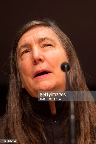 US artist Jenny Holzer holds a press conference during a presentation of the 'Jenny Holzer Thing Indescribable' exhibition at the Guggenheim Museum...
