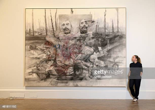 Artist Jenny Saville poses next to one of her works of art as she curates La Peregrina A response to the Royal Academy's Rubens Exhibition at the...