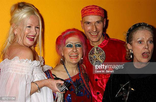 Artist Jibby Beane fashion designer Zandra Rhodes artist Andrew Logan and Ulla Olson attend the Zandra Rhodes A Lifelong Love Affair With Textiles...