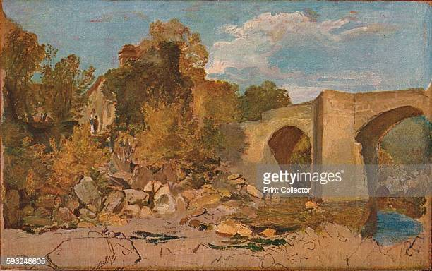 Artist JMW Turner 'Devonshire Bridge with Cottage' 1813 Painting held at The Tate London From The Studio Volume 80 [London Offices of the Studio...