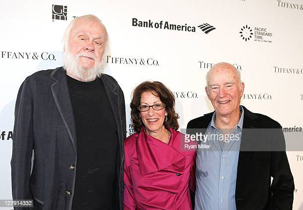 Artist John Baldessari, Joan Weinstein, Pacific Standard Time Co-Director and artist Bob Irwin during the Pacific Standard Time: Art in LA 1945-1980...