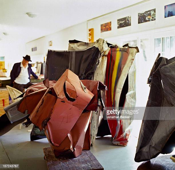 Artist John Chamberlain is photographed for Jonthan Becker's book 'Studios by the Sea' on August 29, 1999 in his studio in Shelter Island, New York....