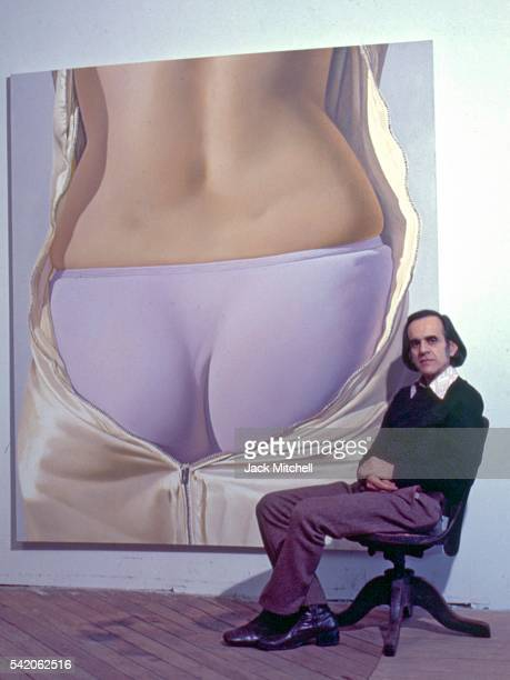 Artist John Kacere with his paintings at a February 1972 gallery show Photo by Jack Mitchell/Getty Images