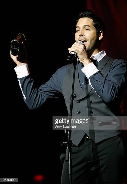 Artist Jorge Moreno performs onstage at the Music Preservation Project Cue The Music held at the Wilshire Ebell Theatre on January 28 2010 in Los...