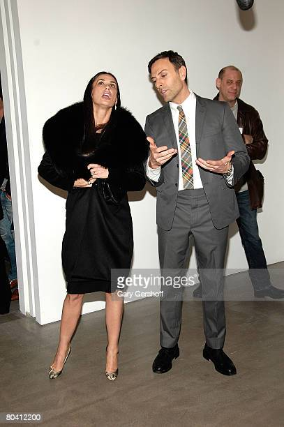 Artist Joseph La Piana and actress Demi Moore celebrate the opening of Kinetic State at the Robert Miller Gallery on March 27 2008 in New York City