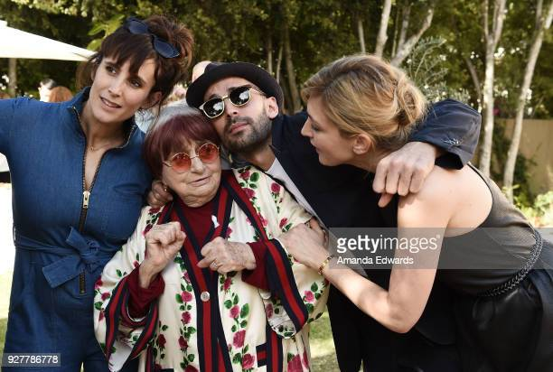 Artist Josephine Wister Faure, director Agnes Varda, artist JR and actress Julie Gayet attend the 90th Academy Awards French Nominees Reception...