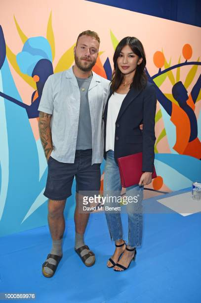 Artist Josh McKenna and Gemma Chan attend the launch of Bombay Sapphire's 'Canvas' a destination designed to stir creativity and inspire creative...