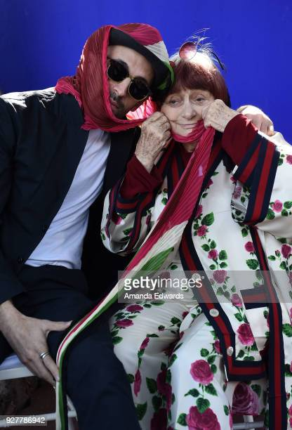 Artist JR and director Agnes Varda attend the 90th Academy Awards French Nominees Reception hosted by the Consul General of France at La Residence de...