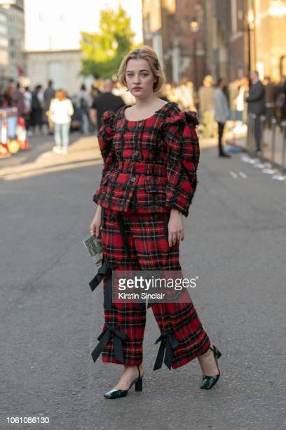 Artist Julia Campbell Gillies wears Simone Rocha top and trousers with black square heeled shoes during London Fashion Week September 2018 on...