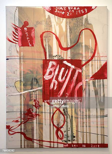 Artist Julian Schnabel's Red Painting in oil spray paint and resin on canvas is displayed February 4 2008 at Sotheby's Valentine's Day Auction at...