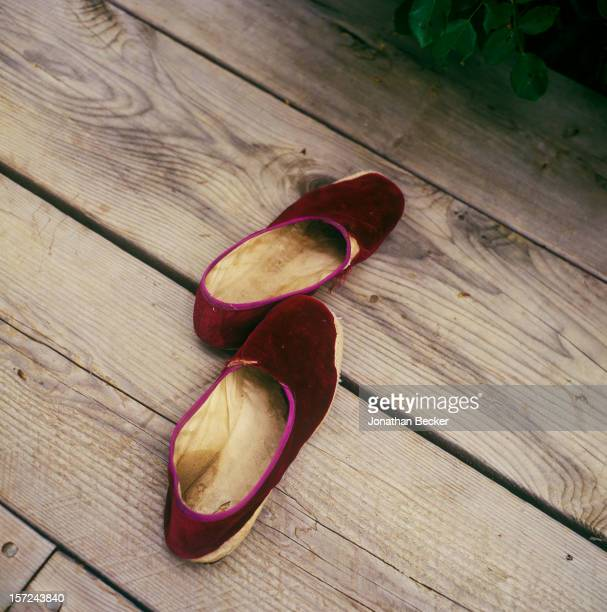 Artist Julian Schnabel's slippers are photographed for Jonthan Becker's book 'Studios by the Sea' on August 13, 2001 in his studio in Montauk, New...