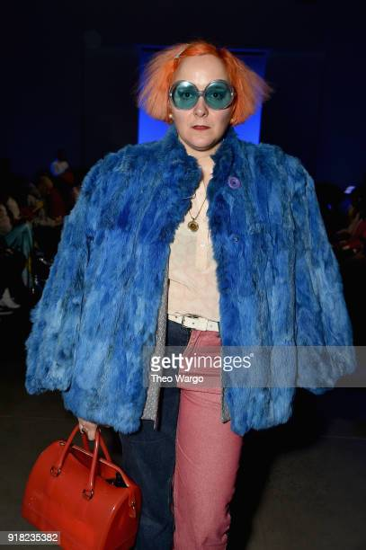 Artist K8 Hardy attends the Laquan Smith front row during New York Fashion Week The Shows at Gallery I at Spring Studios on February 14 2018 in New...