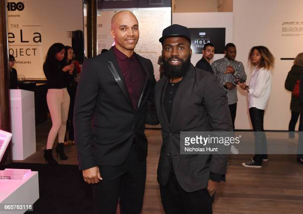 Artist Kadir Nelson and Derrick Adams attends HBO's The HeLa Project Exhibit For The Immortal Life of Henrietta Lacks on April 6 2017 in New York City